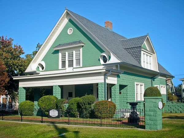 Green House With White Trim With Pics