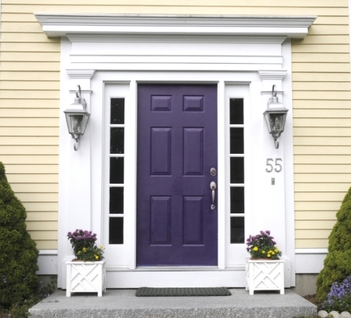 Purple Blue Door White House Paint Design Ideas