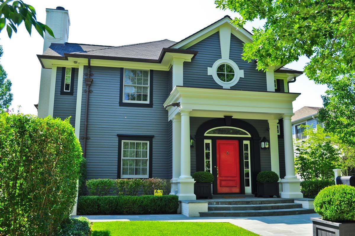 Dark Grey House With Red Door