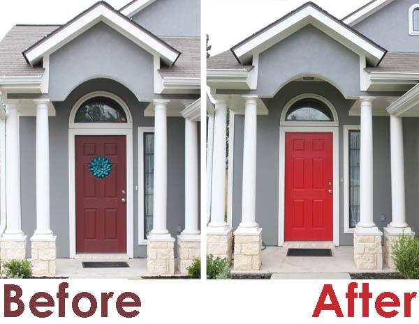 Dark Grey Siding With Red Door