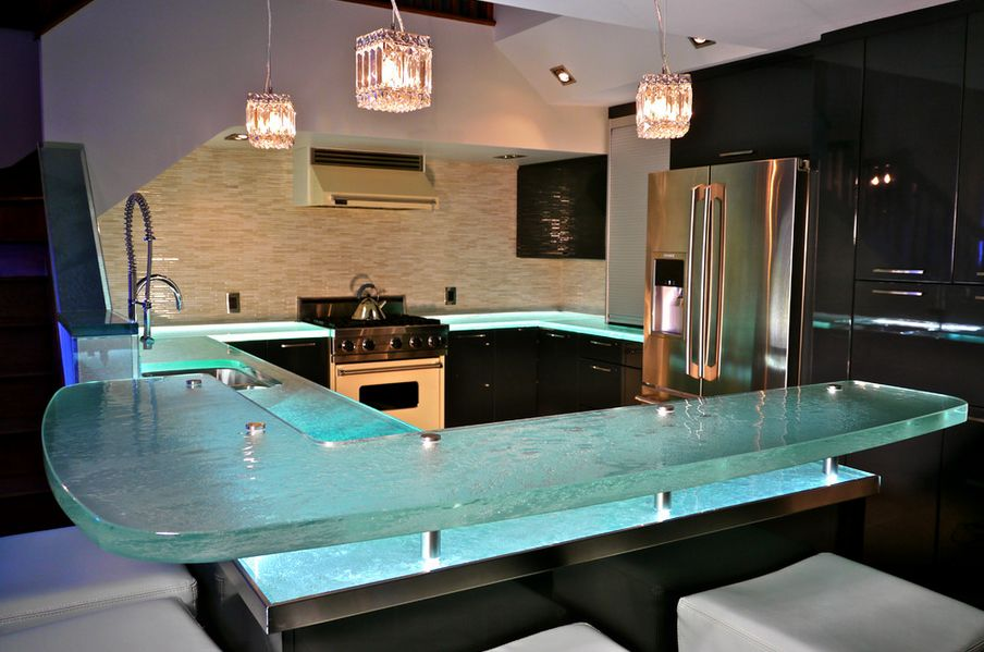 30+ Lush Glass Countertops for your Kitchen with Pics to give you better ideas