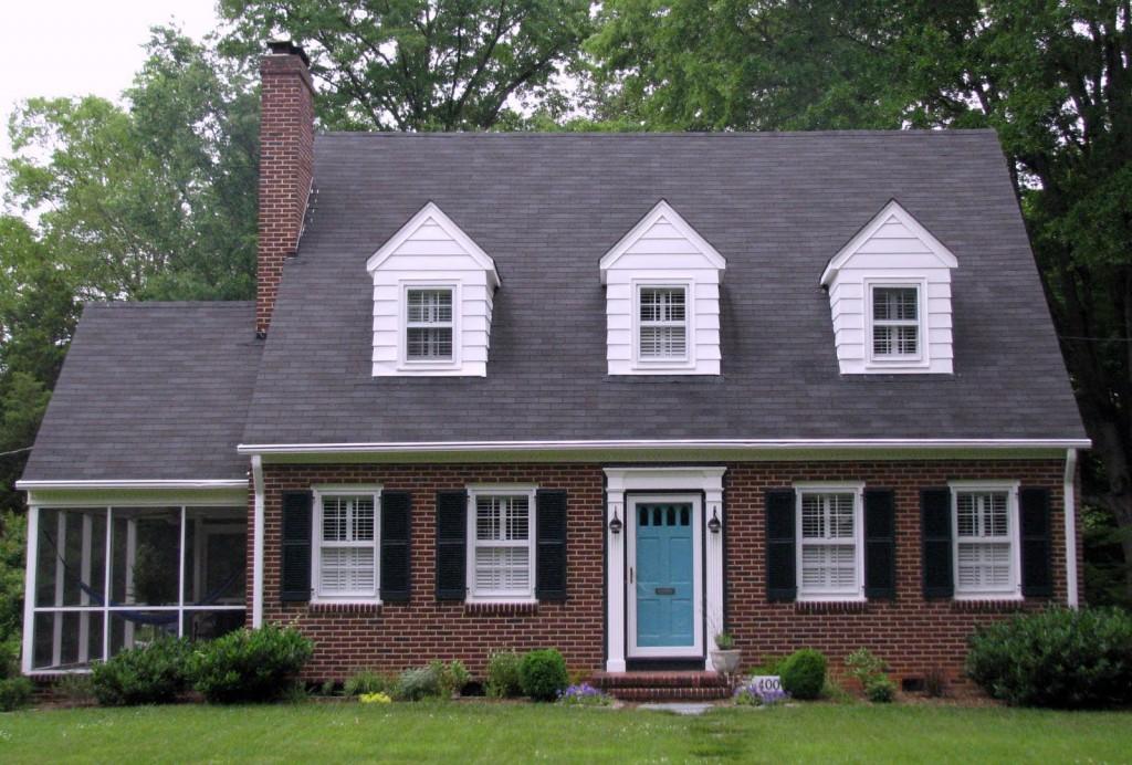 Gray House Black Shutters Blue Door 1024x692