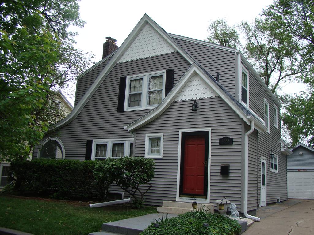 Gray House Black Shutters Yellow Door