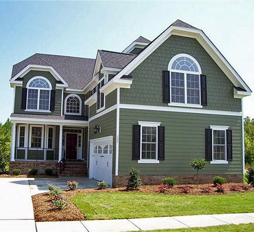 Green & Sage Green House with White Trim 2018