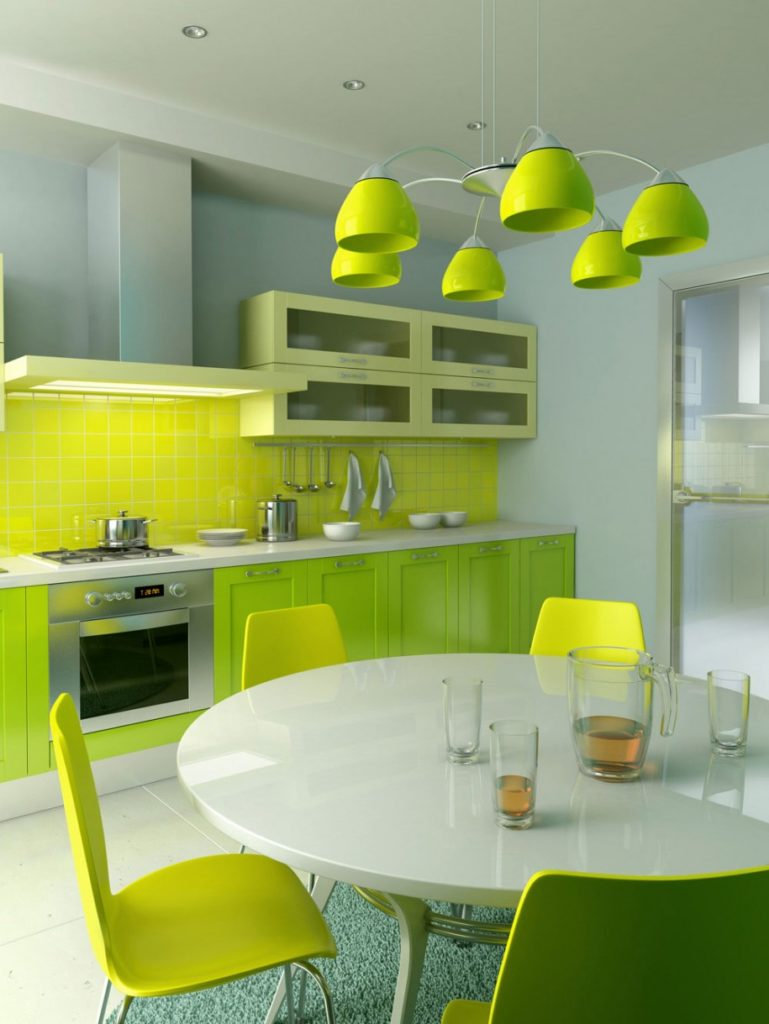 Green Kitchens With White Cabinets 769x1024