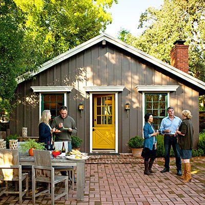 Grey House With Yellow Front Door