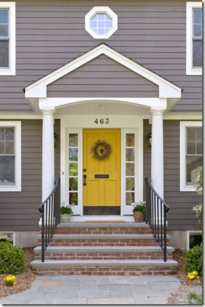 Grey House With Yellow Red Front Door Design Ideas 2018 Pics