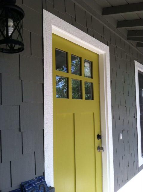 Light Yellow Door Dark Grey House Paint