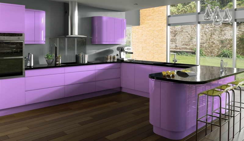 Purple U Shaped Kitchen Ideas