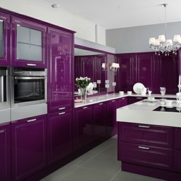 Purple Color Kitchen Cabinets